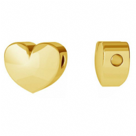 Sterling Silver 3D Heart Charm 24K Gold Plated